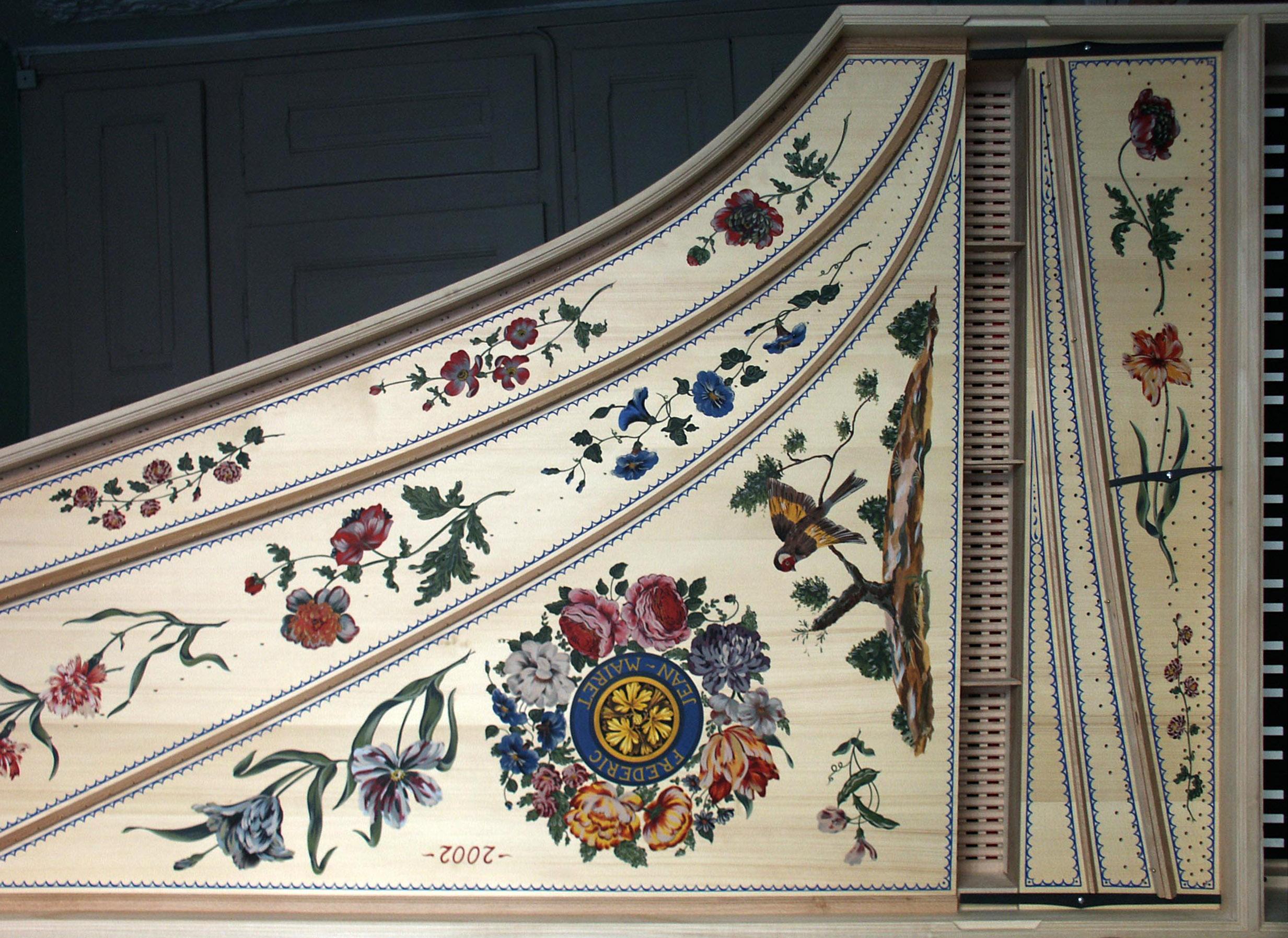Programme de peinture décorative à la française table d'harmonie clavecin