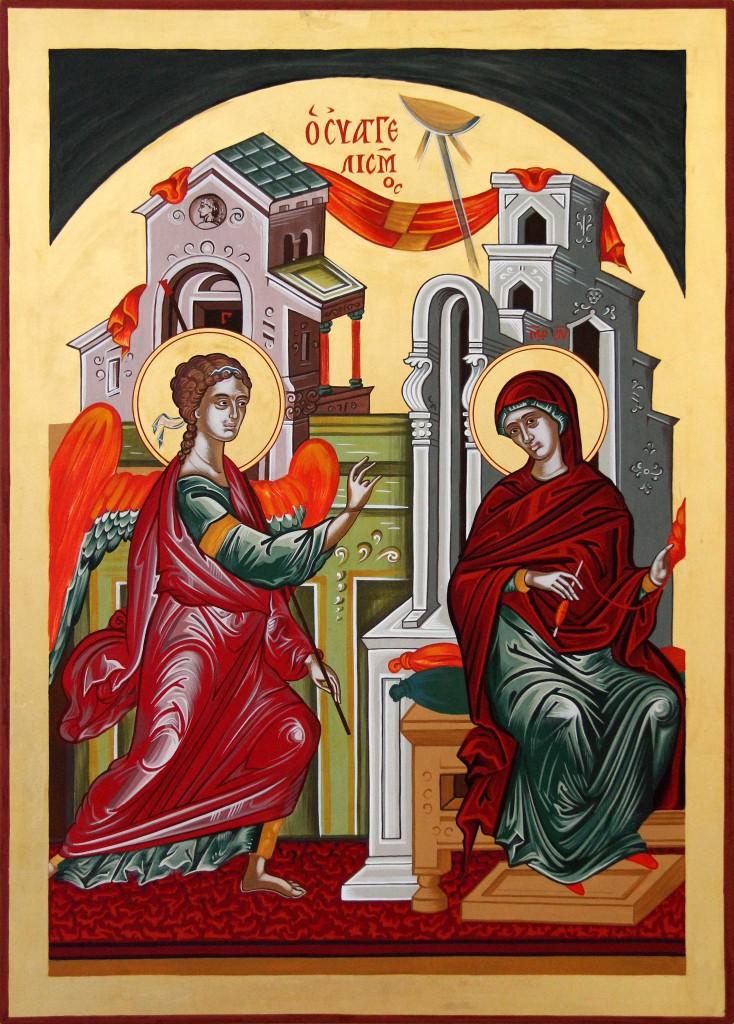 Icône de l'Annonciation, faisant partie d'une série d'icônes byzantines
