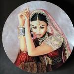 Miniature d'une actrice en micro-peinture sur nacre