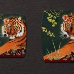 Miniatures de tigres en micro-peinture